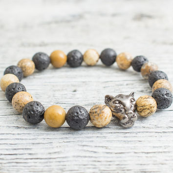 Black lava stone and brown jasper stone beaded gunmetal black Leopard head stretchy bracelet, yoga bracelet, mens bracelet, womens bracelet
