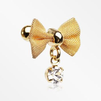 Golden Dainty Mesh Bow-Tie Sparkle Dangle Cartilage Tragus Barbell