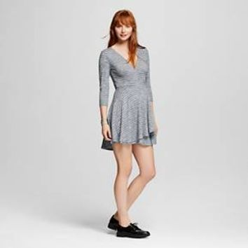 Women's Knit Surplice Skater Dress Navy - Mossimo Supply Co.™ (Juniors') : Target