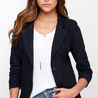 Ingenious Invention Navy Blue Lace Blazer