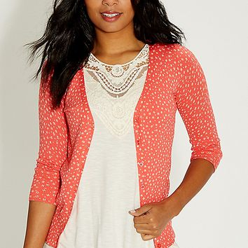 the classic patterned cardi with v-neckline | maurices