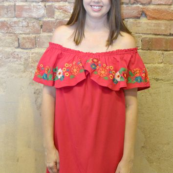 Sweet Cherry Ruffle Embroidered Dress