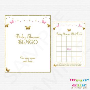 Pink and Gold Baby Shower Bingo Game, Butterfly Baby Shower, Bingo Sign Printable Baby Shower Games Girl Baby Bingo Printable Download BTFPG
