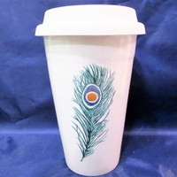 Mug Travel  Coffee Tea Peacock Feather insulation Porcelain Ceramic Pottery Hand Painted blm