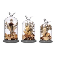 1pcs Crystal Terrarium Decor Dried Flower Creative Terrariums Plant Vase with Vivid Birds Ornament Home Decoration Birthday Gift