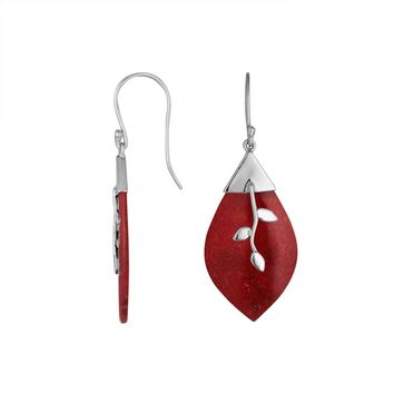 AE-6231-CR Sterling Silver Fancy Earring With Coral