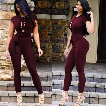 Burgundy Hollow-out Sashes Cap Sleeve Backless Elastic Waist Long Jumpsuit