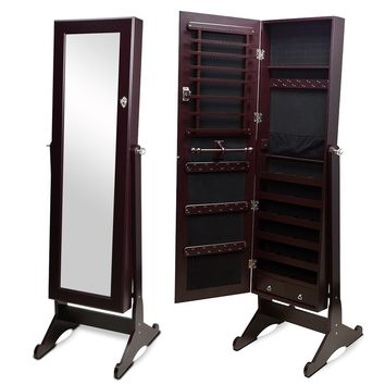 Brown Fashion New Mirrored Jewelry Cabinet  Armoire Storage Cosmetic Display Box