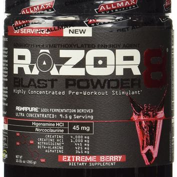 Allmax Nutrition NEW 2014 Razor8 Pre-workout (DMAA FREE) 30 Servings (Extreme Berry)