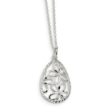 925 Sterling Silver Polished and Diamond Cut Floral Teardrop 17.5in Necklace