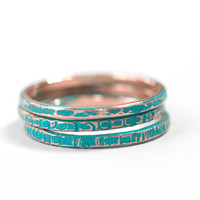 Turquoise Aqua Blue Set of 3 Colored Stacking Ring Copper Textured Skinny Teen 1 to 2mm