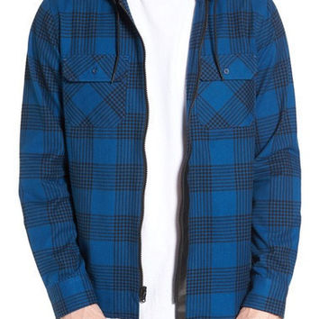 IZUMI HOODED PLAID FLANNEL ZIP SHIRT