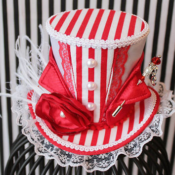 Circus Mini Top Hat, Circus Top Hat, Mini Hats, Tea Party Hat, Red Fascinator,  Top Hat, Women Mini Top Hat, Women Fascinator