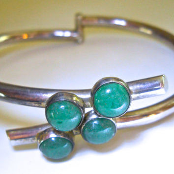 Jade Sterling Silver Bracelet Bypass Hinged Taxco Vintage