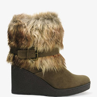 Buckled Faux Fur Boots