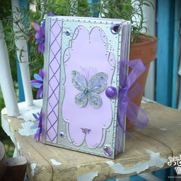 Fairy Magick Book of Shadows Faerie Wicca Spellbook Lavender Butterfly Journal Witchcraft Diary Pagan Handmade Hardcover Lilac Silver Book