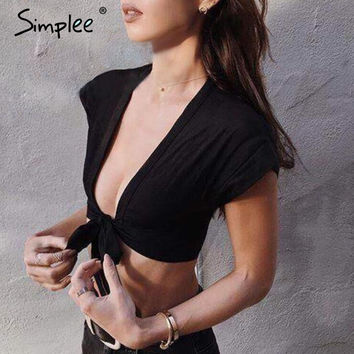 Simplee Deep V sexy 2017 summer beach short top tees Black cotton crop top Club short sleeve lace up bow women tank tops