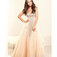 (PRE-ORDER) Terani 2014 Prom Dresses - Nude Crystal Strapless Sweetheart Ball Gown
