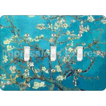 Almond Branches Van Gogh Painting Triple Toggle Light Switch Plate Cover