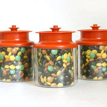 Vintage NEW Tupperware CounterParts Acrylic Kitchen Canisters, See Through Containers, Bright Orange Lids, 2 1/4 Cups, .5 Liter