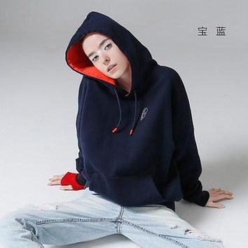 Toyouth Hoodies Sweatshirts   Autumn Winter Character Embroidery Solid Color Fleece Long Sleeve Loose Tracksuit With Pocket