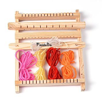Wood Knitting Looms Tools Accessories Set, with Yarns, Warp Weft Adjusting Rods, Combs and Shuttles, Beige, 230x70x30mm