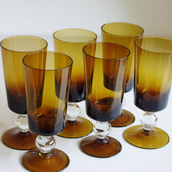 Vintage Tall Cocktail or Water Glasses - Dark Amber Crystal - Set of 8 - Mid Century Smoke Amber
