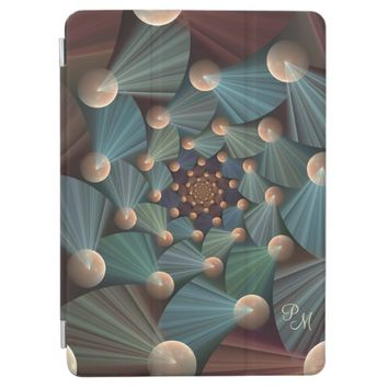 Modern Fractal Art Brown, Slate, Blue Monogram iPad Pro Cover