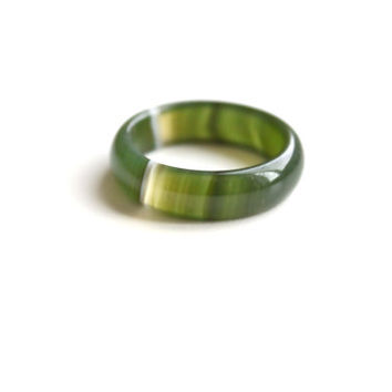 Natural Dark Green Agate Band Ring 5mm. Stackable Gemstone Ring. Real Agate Band Ring. Natural Healing Agate Ring.