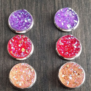 Druzy earring set-  Sunset drusy stud set - druzy earrings