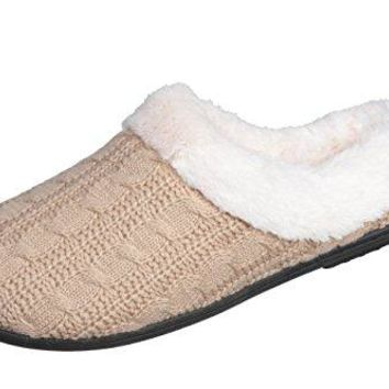 Joan vass Womens Cabled Knit Sweater Clog Winter Bedroom Slippers Super Cozy and Comfort