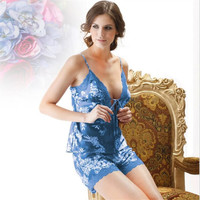Satin Summer Pajamas Silk Pajamas for Women Pyjama Femme Satin Silk Print Camisole Shorts 2 Piece Sleepwear