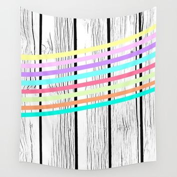 Rainbow stripes vs wood Wall Tapestry by ARTbyJWP
