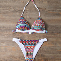 2017 Trending Fashion Women Floral Printed Knit Sexy Floral Printed Two-Piece Erotic Bikini Swim Suit Beach Bathing Suits Swimwear _ 13231