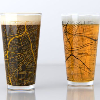 Nashville, TN - Vanderbilt - College Town Map Pint Glass Set