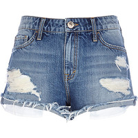 River Island Womens Mid wash ripped Ruby denim shorts