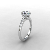 White Topaz ring, diamond, White Gold, engagement ring, solitaire, diamond engagement, topaz, vintage style, micro pave