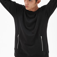 Zippered Slub Knit Sweatshirt Black