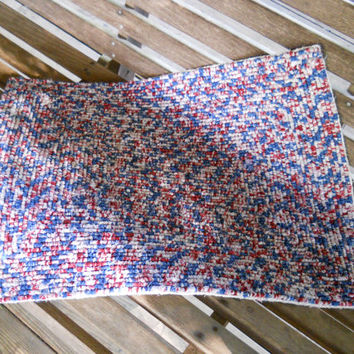Locker Hooked Rug, July 4th Decor, Patriotic Rug, Americana Decor, Scatter Rug, Hooked Rug, Door Mat, Kitchen Rug, Bedroom Rug, Bath Rug