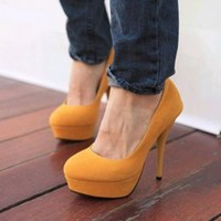 Pure Yellow Concise Design Ladies High Heel Shoes  : Wholesaleclothing4u.com