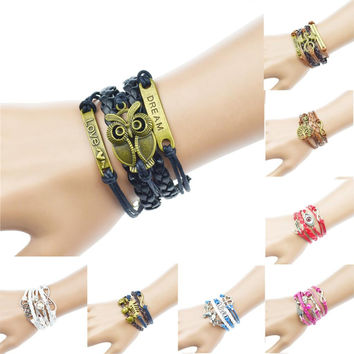 Vintage Owl Dragon Wings Infinity Charm Bracelet, Multicolor Woven Leather