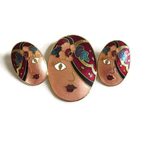 Enamel Gypsy Lady Face Brooch & Earrings Set Vintage