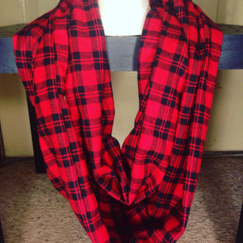 Plaid Flannel Infinity Scarf-Women's Scarf-Red Scarf-Winter Scarf-Chunky Scarf-Gifts For Her-Toddler Scarf-Mommy and Me Scarf-Chicago Bulls