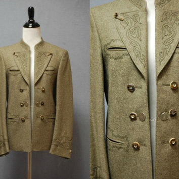Vintage 1980s German Blazer - Loden - Horn Buttons - Embroidered - Equestrian - Wool - XS S