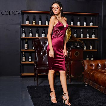 Burgundy Satin V Neck Summer Party Club Dress