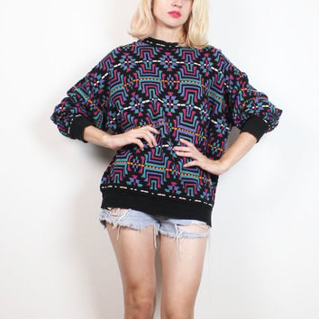 Vintage Boyfriend Sweater 1990s Black Pink Teal Purple Abstract Geometric Print Slouchy 90s Sweater Lightweight Knit Jumper XL Extra Large L