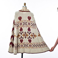 70's Knit Poncho Ivory, Brown, Rust and Gold Heart and Floral Pattern