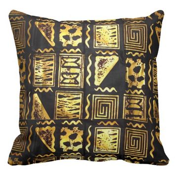 African Tribal Mud Cloth Graphic In Gold Throw Pillow