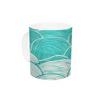 "Pom Graphic Design ""The Calm and Stormy Seas"" Green Teal Ceramic Coffee Mug"