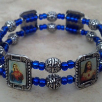 Blue Beaded Religious Charm Stretch Bracelet by MSM Creations